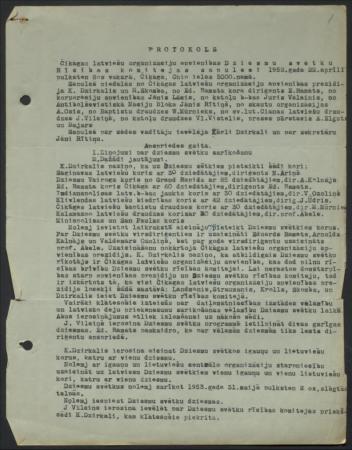 1. Latviešu Dziesmu svētku Amerikā Rīcības komitejas sēžu protokoli un žūrijas komisiju atzinumi u.c. dokumenti